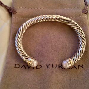 David Yurman 7mm Two Tone 14k Pearl Cable Bracelet